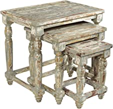 Crestview Collection CVFNR354 Bengal Manor Mango Wood Distressed Grey Set of Nested Tables Furniture, Gray