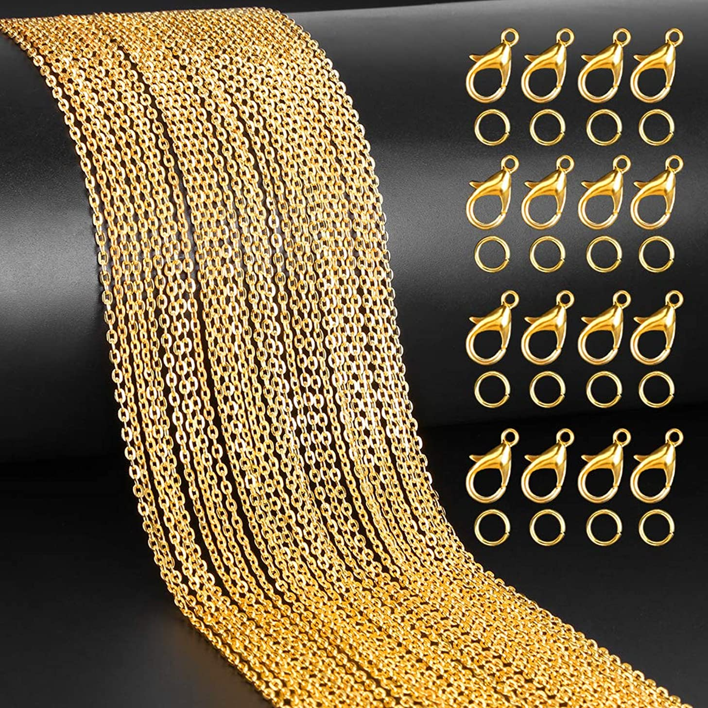 YBLNTEK 39.4 Feet Jewelry Making Chains Gold Link Chain Necklace with 100 Pieces Jump Rings and 30 Pieces Lobster Clasps for Jewelry Making Jewelry Repair (2 x 3 mm)
