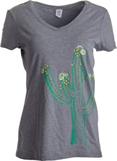 Saguaro Cactus Art | Cute Western Southwest Desert Artsy Women's V-Neck T-Shirt