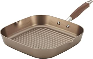 Anolon Advanced Hard Anodized Nonstick Square Deep Grill/Griddle Pan with Spouts, 11 Inch, Brown Umber