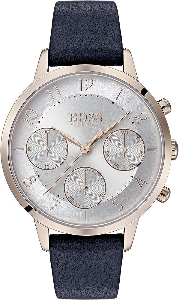 Hugo boss orologio cronografo analogico al quarzo per donna con cinturino in pelle 1502506
