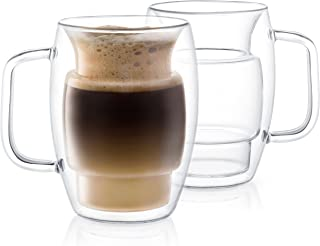 JoyJolt Cadus Glass Coffee Cups Double Wall Insulated Mugs Set of 2 Latte Glasses, 16-Ounces.