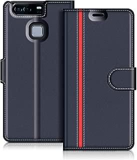COODIO Funda Huawei P9 con Tapa, Funda Movil Huawei P9, Funda Libro Huawei P9 Carcasa Magnético Funda para Huawei P9, Azul Oscuro/Rojo