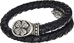 Four Leaf Clover Braided Leather Wrap Bracelet