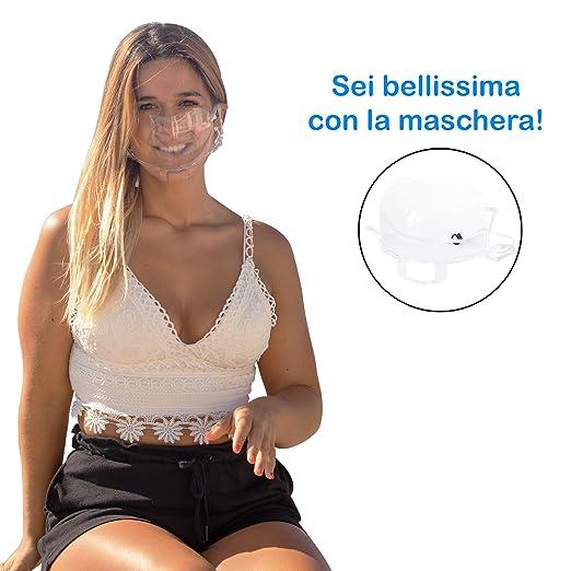 HLN- EUROPE- Mascarilla transparente para Boca y Nariz, fabricada en la UE, Máxima calidad, Lavable - No oculta el rostro - Propiedades antivaho - ...