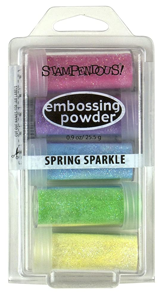 STAMPENDOUS Embossing Powder 5/Pkg 9Oz-Spring Sparkle, Assorted
