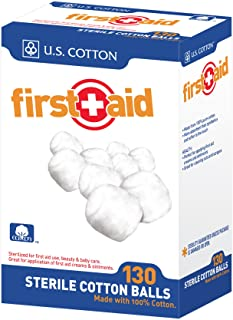 U.S. Cotton First Aid or Baby Sterile 100% Cotton Balls, 130 Count Box