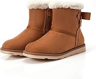 حذاء شتوي من الفرو الدافئ للأطفال الصغار من Weesboro برقبة مسطحة للكاحل والثلوج
