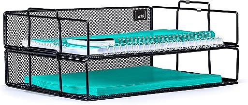 Mindspace 2 Tier Stackable Letter Tray Desk Organizer | Stackable Paper Tray Organizer | The Mesh Collection, Black