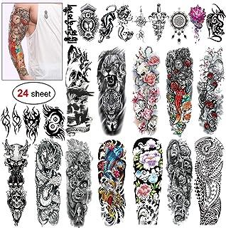 Full Arm temporäre Tattoos, Konsait 24 Blätter temporär T