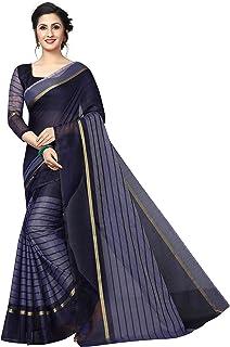 edbd3e633b Perfectblue Women's Banarsi Cotton Silk Saree With Blouse Piece  (Rus9tamVariation)