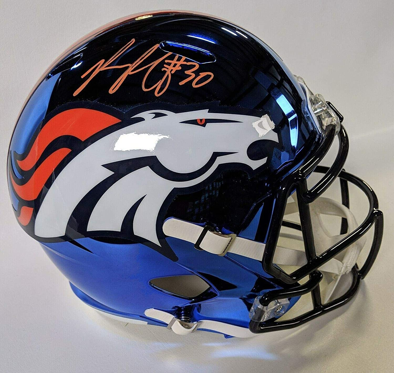 Phillip Lindsay Signed Helmet  Chrome Speed Replica F s W Beckett Co  Beckett Authentication  Autographed NFL Helmets
