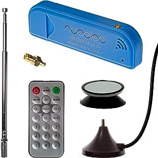 NESDR Mini 2+ 0,5PPM TCXO RTL-SDR y ADS-B Juego de Receptor USB con Antena, Montaje de Succión, Adaptador Hembra SMA y Control Remoto, Sintonizador RTL2832U y R820T2. Radio Definida por Software