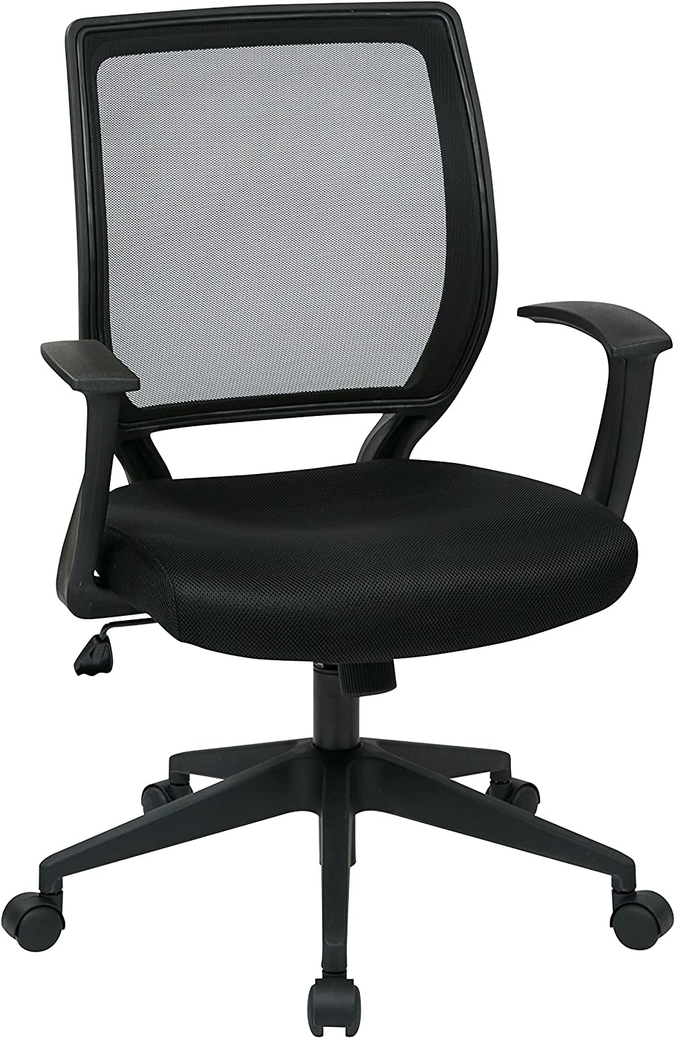 Work Smart Office Star Woven Mesh Back Task Chair with Fixed Arms and Padded Seat, Black