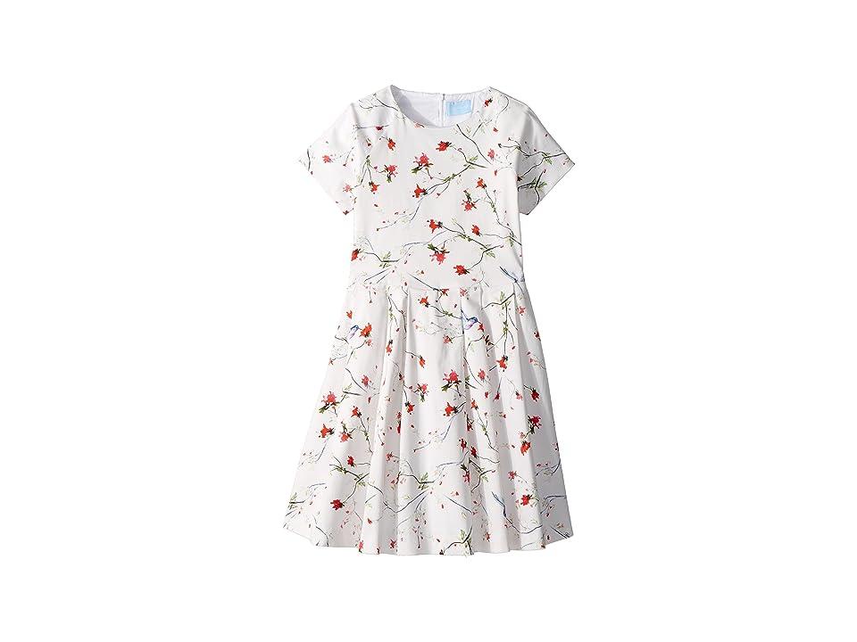 Lanvin Kids Bloom Short Sleeve Dress (Big Kids) (White/Multi) Girl