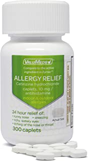 ValuMeds 24-Hour Allergy Medicine (300-Count) Antihistamine for Pollen, Hay Fever, Dry, Itchy Eyes, Allergies | Cetirizine HCl 10mg Caplets
