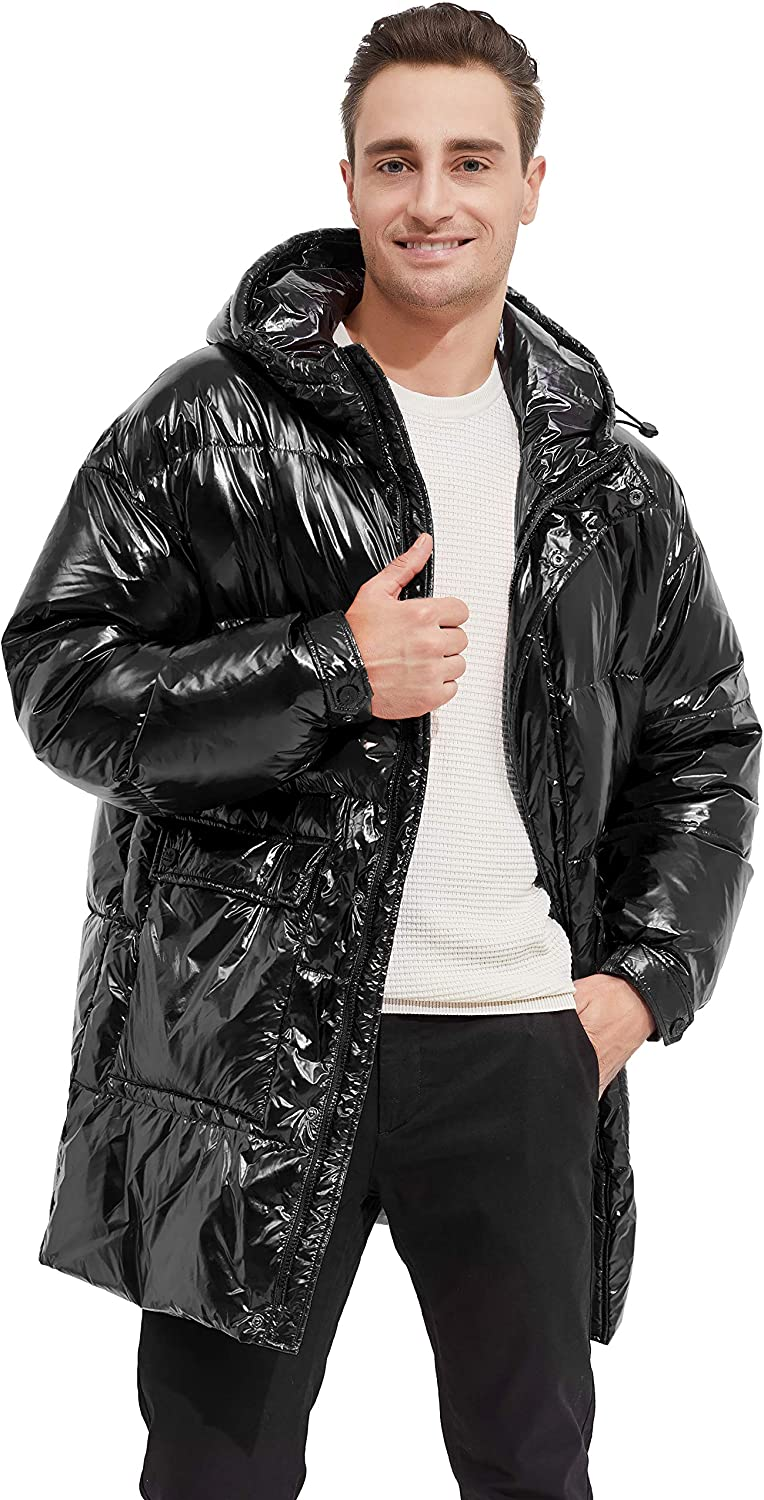 Orolay Shiny Down Jacket Men Winter Coat Stand Collar Puffer Jacket with Hood