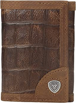 Shield Croco Tri-Fold Wallet