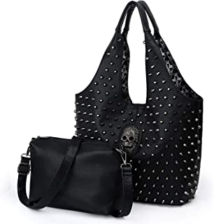 UTO Women Skull Shoulder Bag Large Rivet Studded Shopper Handbag 2 Pcs PU Leather Crossbody Bags Purse
