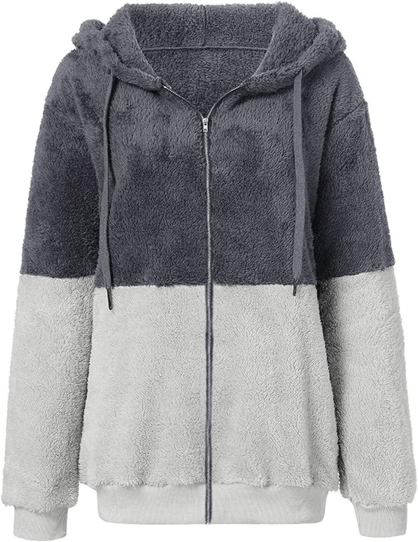 TICOOK Damen Winter Warm Fleece Jacke Kapuze Sweatshirt Reißverschlusstaschen Farbblock Mantel Plus Size Outwear Grau-7