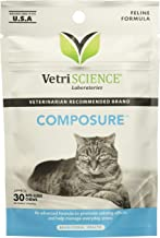 (4 Packages) VetriScience Laboratories - Composure Feline, 120 Bite-Sized Chews Total (30 Per Pack)