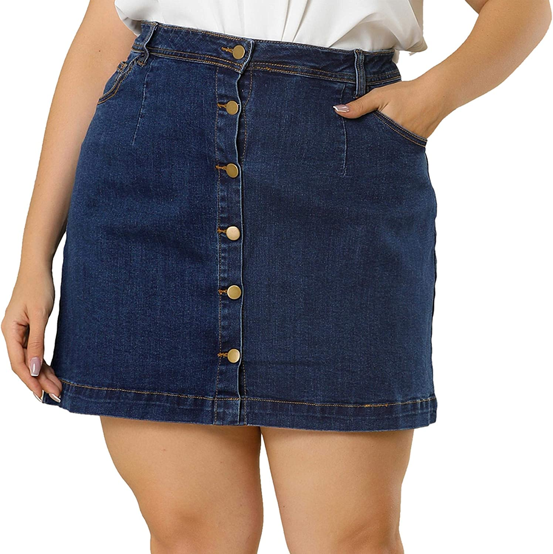 Agnes Orinda Women's Plus Size Denim Skirts Mini Button Side Pocket Casual Jean a Line Skirt