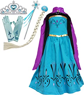 Cokos Box Girls Frozen Elsa Coronation Dress Cape Tiara Crown Gloves Snowflake Wand Braid Wig Set