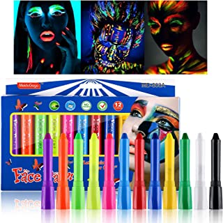 CCbeauty 12 Colors Luminous Face Paint Crayons UV Glow in The Dark Neon Face and Body Paint Sticks (6 pcs Glow and 6 pcs N...