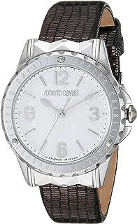 ROBERTO CAVALLI Women's Stainless Steel Swiss Quartz Watch with Leather Calfskin Strap, Grey, 16 (Model: RV1L048L0016)