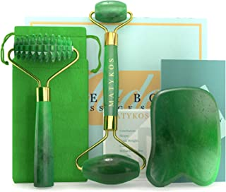 3 in 1 Jade Roller for Face and Gua Sha Set - Helps Reducing Drainage Puffiness Wrinkles -100% Authentic Himalayan Jade With Quality Certificate - BONUS Ridged Roller and Carrying Pouch