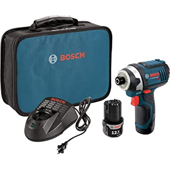 Bosch PS41-2A 12V Max 1/4-Inch Hex Impact Driver Kit with 2 Batteries, Charger and Case,Blue