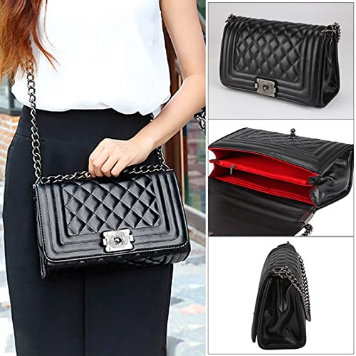 d88dd2c468 PetHot Women Quilted Shoulder Bag Messenger Chain Handbag Black Cross Body  Clutch PU Leather Fashion Evening