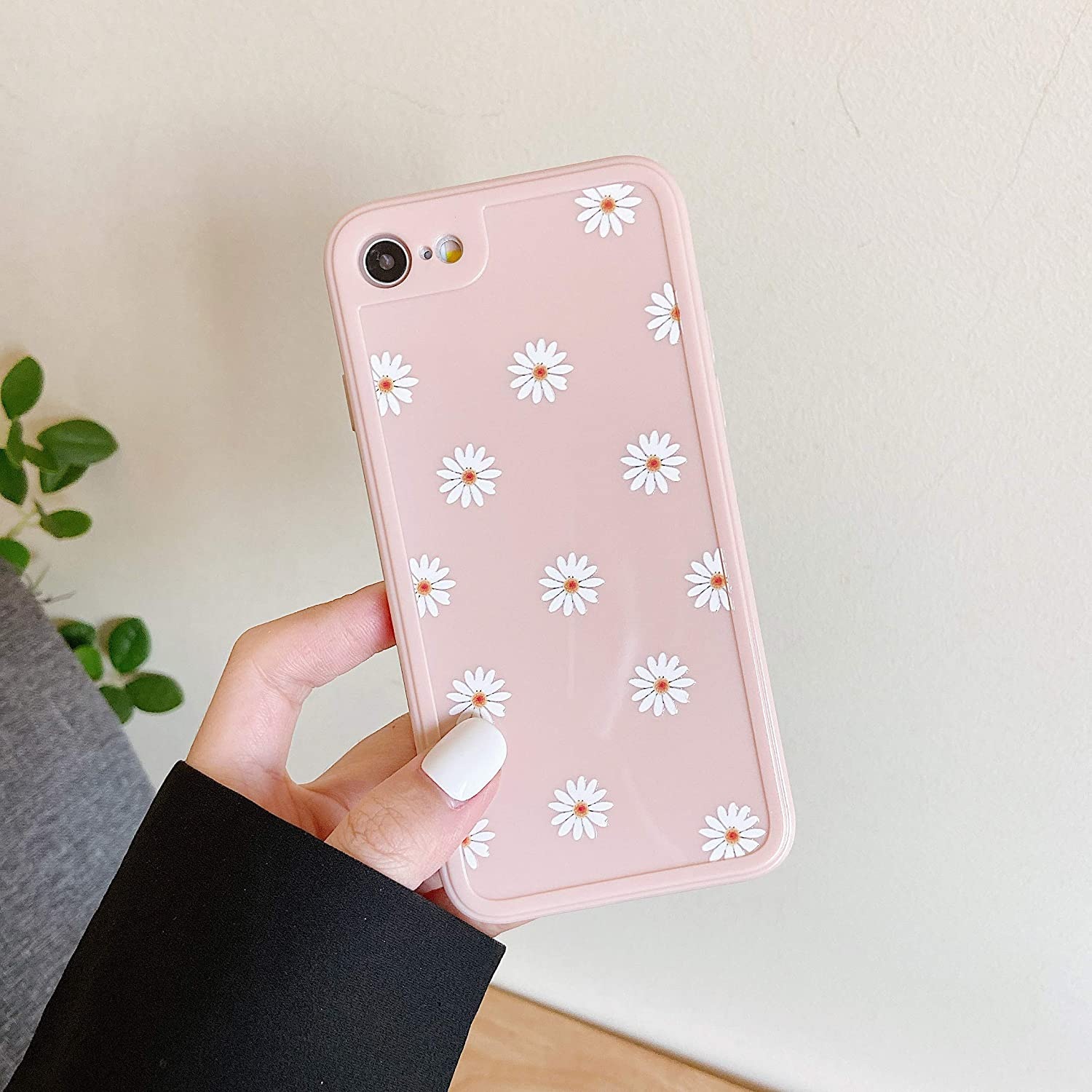 ZTOFERA TPU Back Case for iPhone 7 iPhone 8 iPhone SE 2020, Daisy Pattern Glossy Soft Silicone Case, Cute Girls Slim Lightweight Protective Bumper Cover for iPhone 7 (4.7