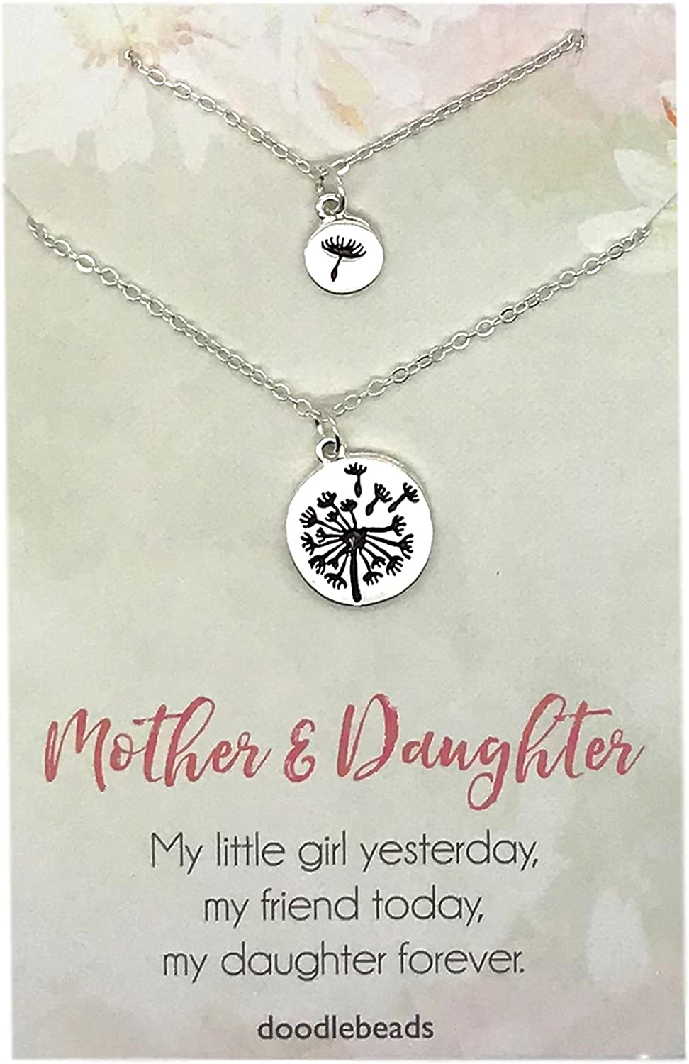 Dandelion Mother Daughter Necklaces, Mother Daughter Jewelry Set
