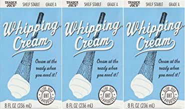 3 pack Trader Joe's Shelf Stable Tetra Grade A Whipping Cream 8 FL Oz (236 mL) Cream..