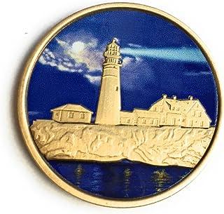 RecoveryChip Fog Light Prayer Color Lighthouse Bronze Step 12 Spiritual Medallion Pocket Token