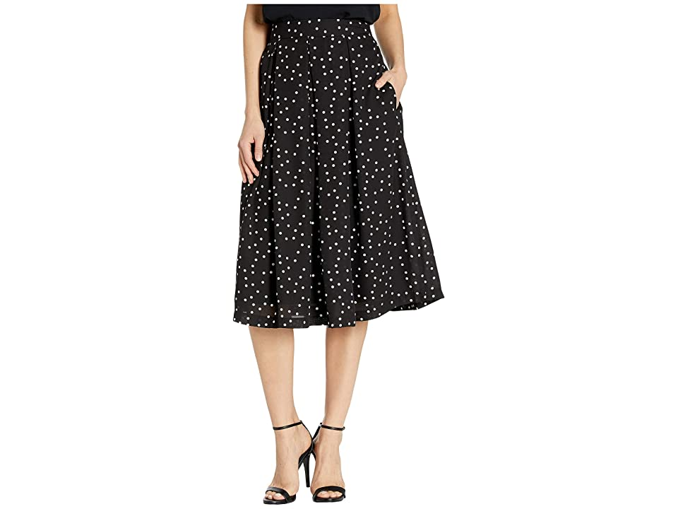 Tahari by ASL Inverted Midi Pleat Skirt (Black/Ivory Dot) Women