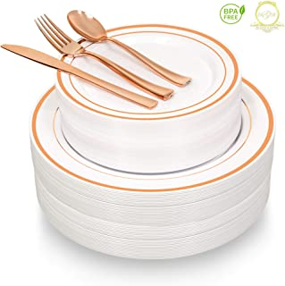 Rose Gold Plastic Dinnerware 130 Pieces, 26 Guests