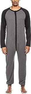 Men's Long Thermal Union Suit Button Down Pajamas S-XXL