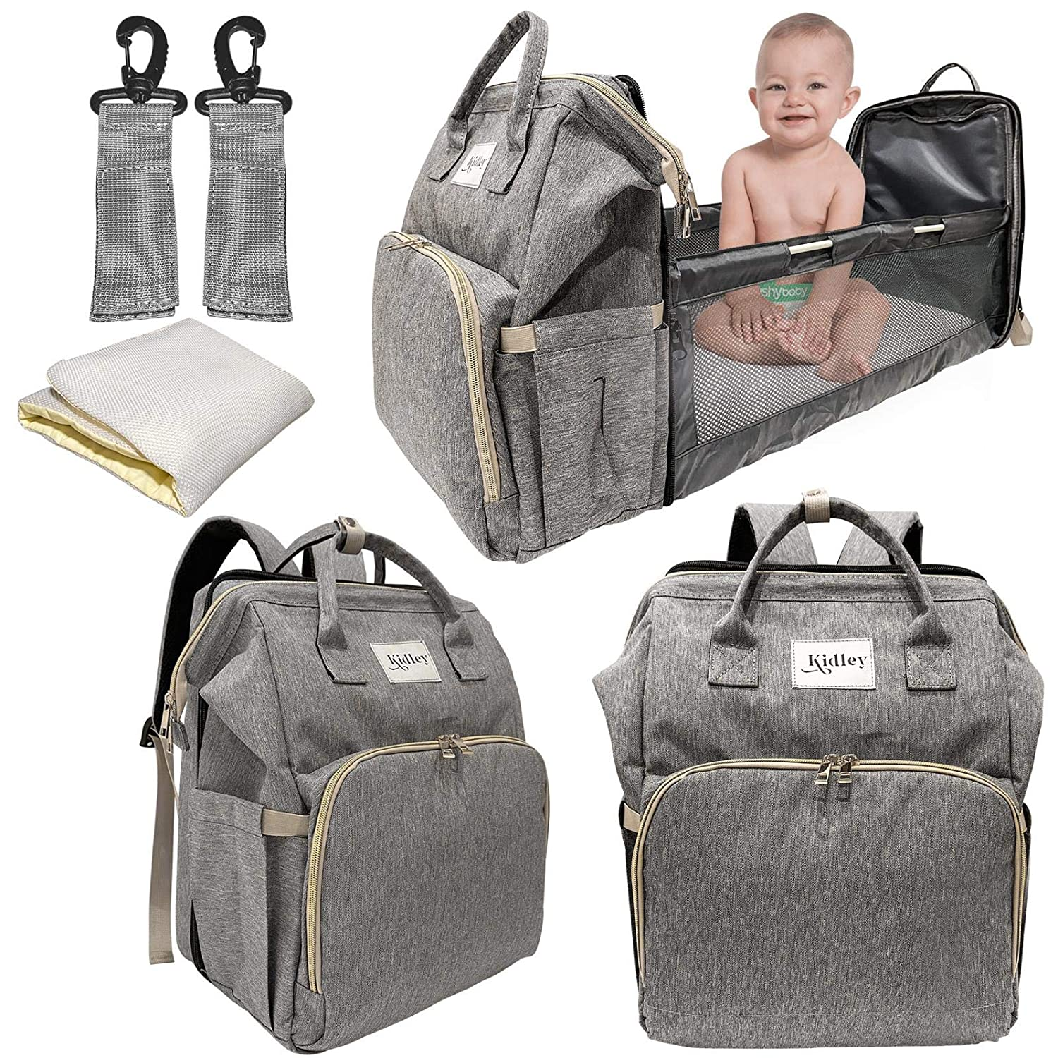 Kidley Multifunctional Diaper Bag with Changing Station   Diaper Bag with Bassinet   Travel Bag Backpack Includes Travel Crib   Stroller Strap   Portable Bassinet with Bed Mat Pad (Grey)