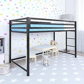 DHP Miles Junior Metal Loft Bed Kid's Bedroom, Black, Twin