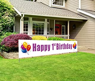 Large Happy 1st Birthday Banner, First Birthday Party Sign, Universal Boy Girl 1st Bday Decorations