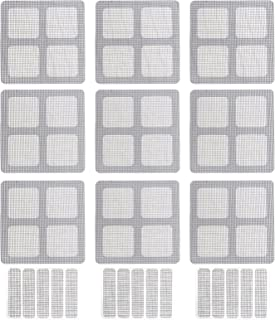 YARNOW 12pcs Door Window Screen Repair Patch Set Self Adhesive Fiberglass Holes Cover Mesh Sticky Wires Patches (Grey)