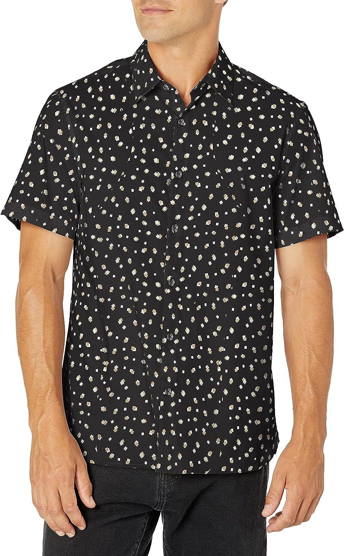 Perry Ellis Men's Standard Slim Fit Confetti Print Short Sleeve Stretch Button-Down Shirt