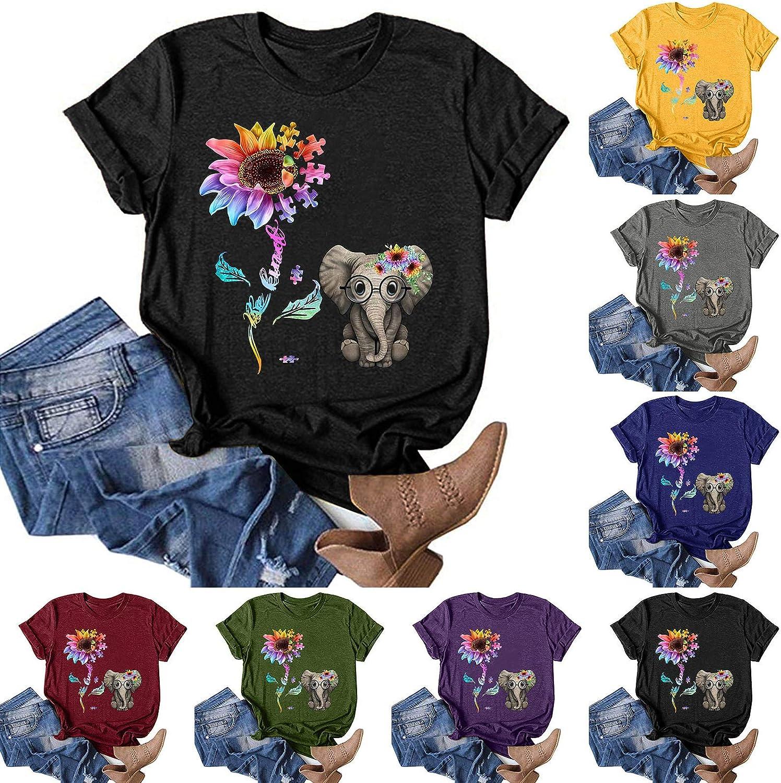 Tshirts for Women, Women Short Sleeve T-Shirt Sunflower Printed Tee Shirt Plus Size Graphic Gifts Shirt Top