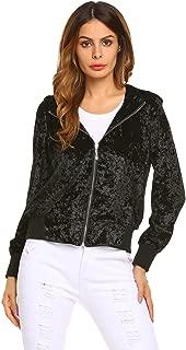 Women Fashion Velvet Bomber Jacket Long Sleeve Zip Up Cropped Top Outwear Coat