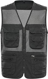 Flygo Men's Summer Mesh Fishing Vest Photography Work Multi-Pockets Outdoors Journalist's Vest Sleeveless Jacket