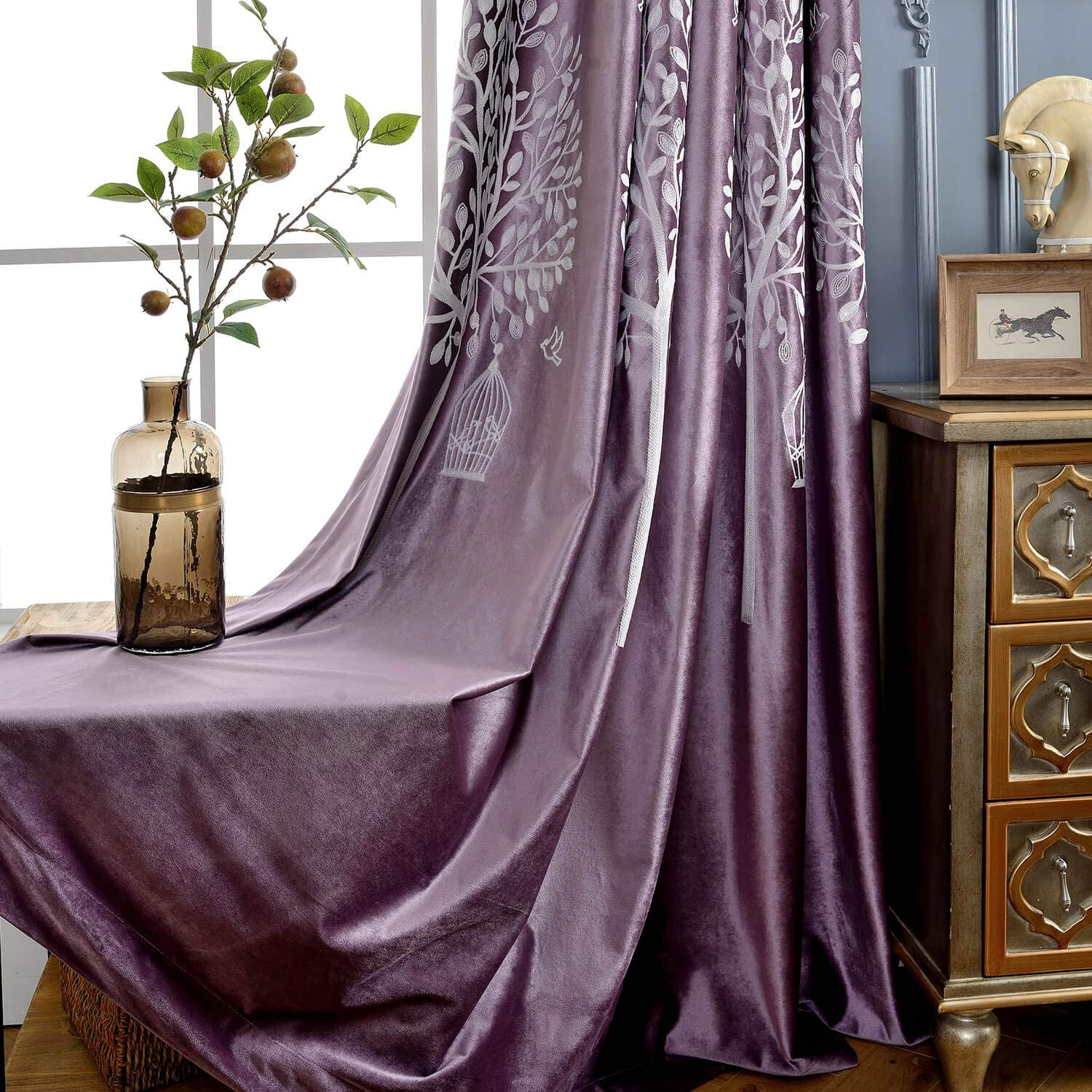 VOGOL Lavender New Orleans Mall Mail order Flannel Blackout Curtains Embroidere White Trees