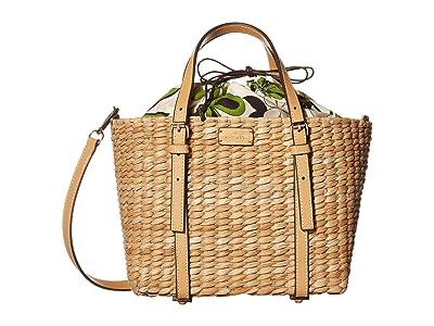 Frances Valentine Small Basket Tote Cornhusk with Vachetta (Natural Leaf) Handbags