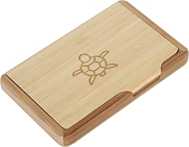 Sea Turtle Bamboo Business Card Holder With Laser Engraved Design - Business Card Keeper - Holds Up To 10 Cards - Lightweight Calling Card Case